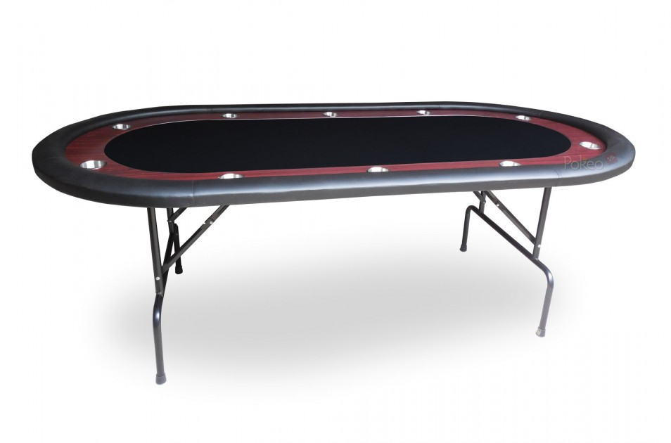 table de poker racetrack noir. Black Bedroom Furniture Sets. Home Design Ideas