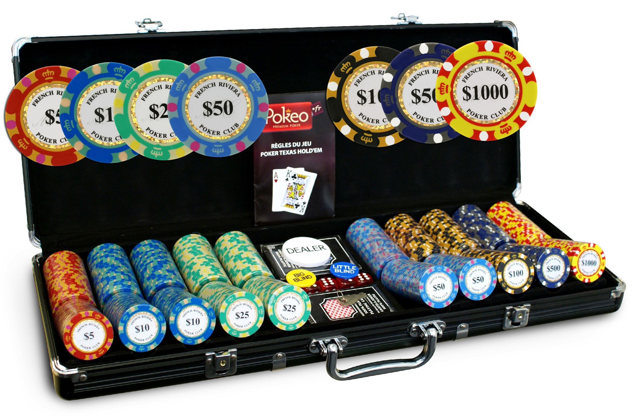 Malette Poker 500 jetons French Riviera Gold Clay Composite