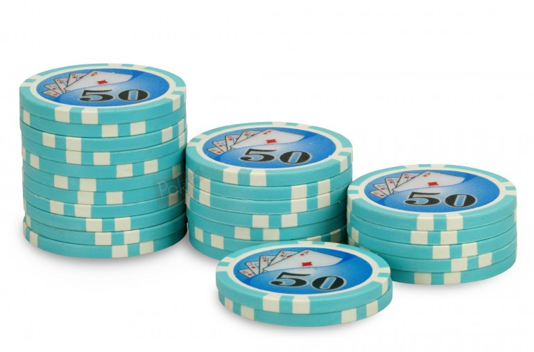 Rouleau de 25 jetons Royal Flush 50