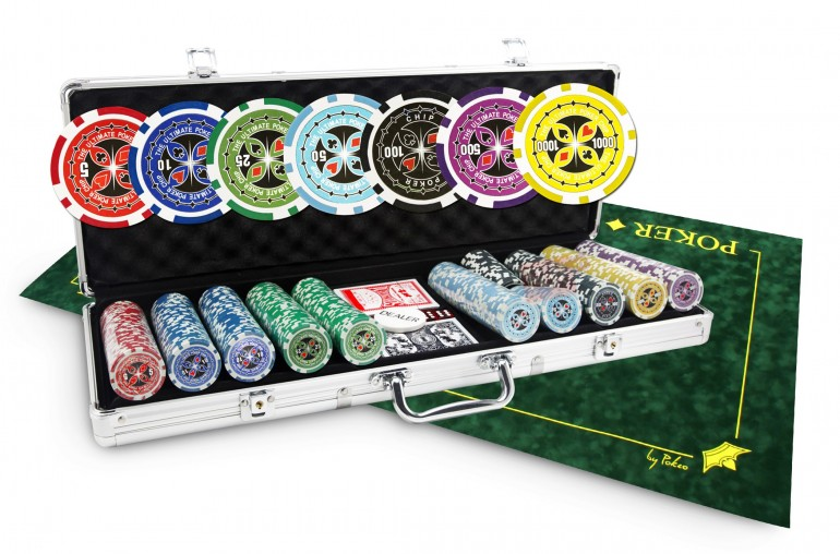 Pack Ultimate Poker 500 jetons + Tapis suédine Texas Poker vert