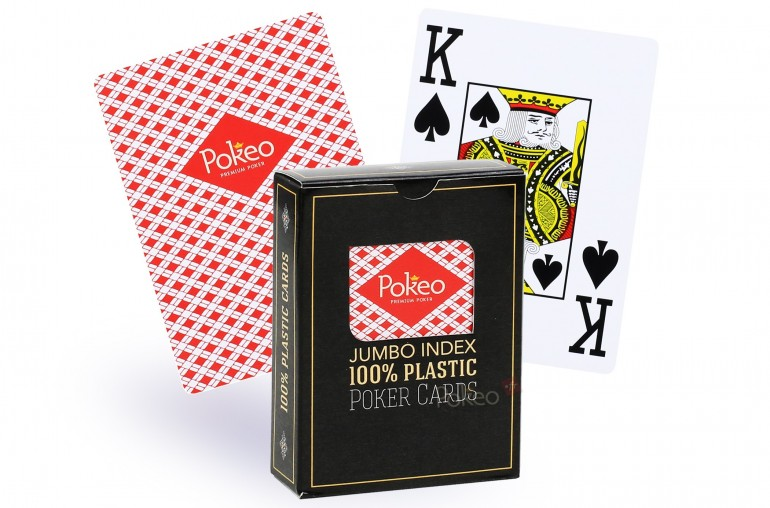 Cartes de poker 100% plastique (rouge)